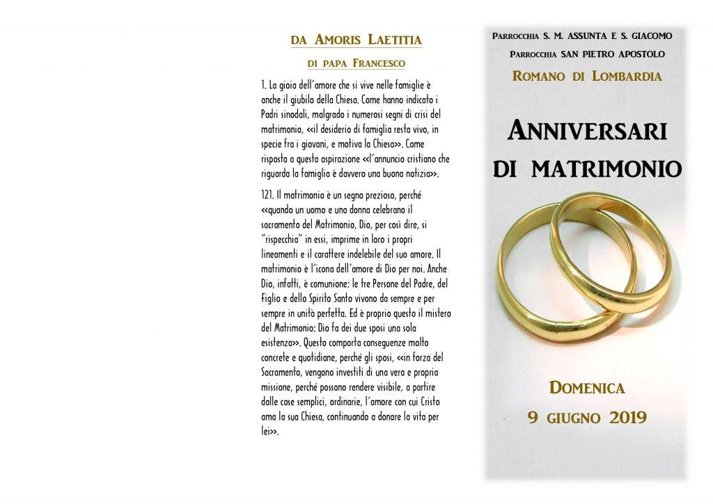 9 Anniversario Di Matrimonio.Anniversari Di Matrimonio 9 Giugno 2019 Parrocchie